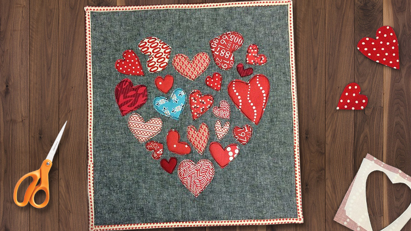 Embroidered mermaids mini quilts and applique hearts days
