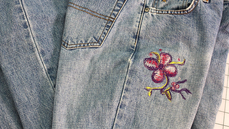 Embellishing Jeans with Free Motion Embroidery