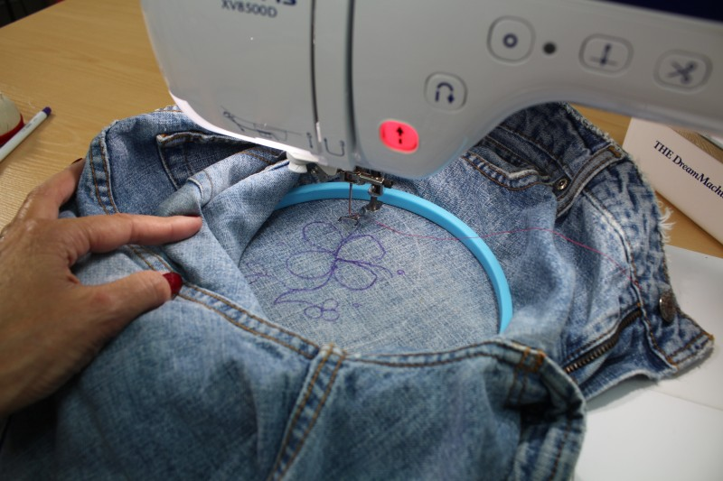 Embellishing Jeans with Free Motion Embroidery - Machine Set-up