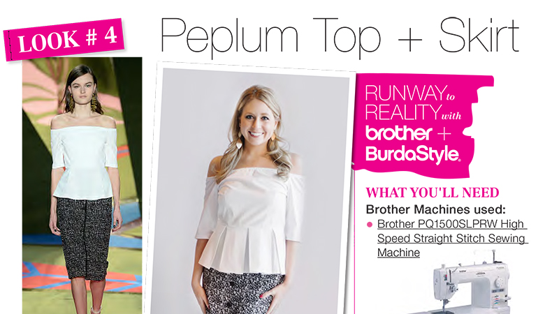 Runway to Reality Look 4 – Peplum Top and High-Waisted Skirt