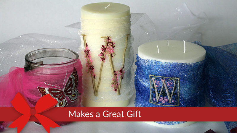 Decorate Embroidered Candle Centerpiece