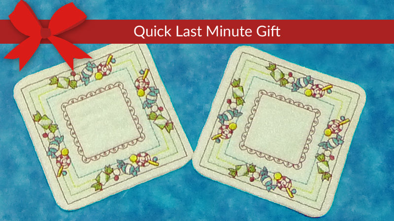 Holiday Candy Coasters, Made In-The-Hoop