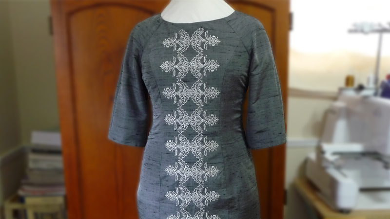 Holiday Dress with Metallic Embroidery: Free Design