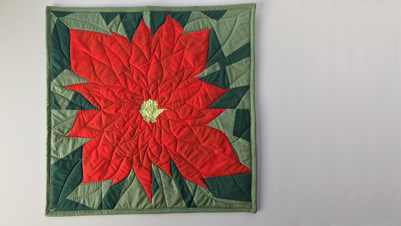 Improv Poinsettia: Free Motion Quilting Edition