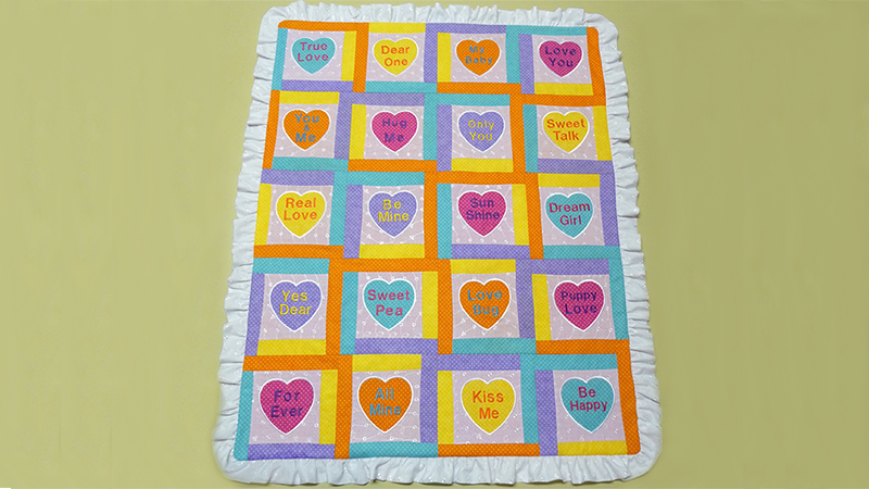 Candy Hearts Machine Embroidered Quilt Block