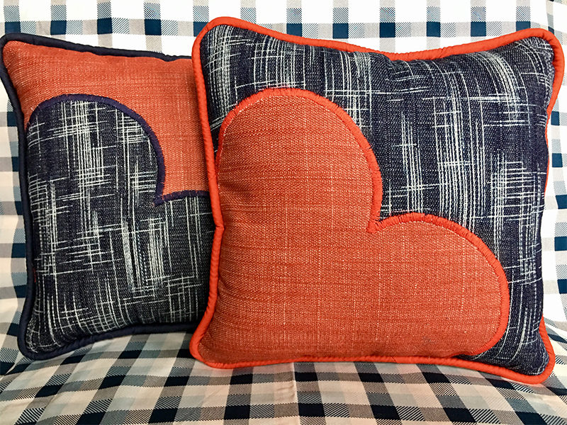 Oooh La La Denim Heart Pillow