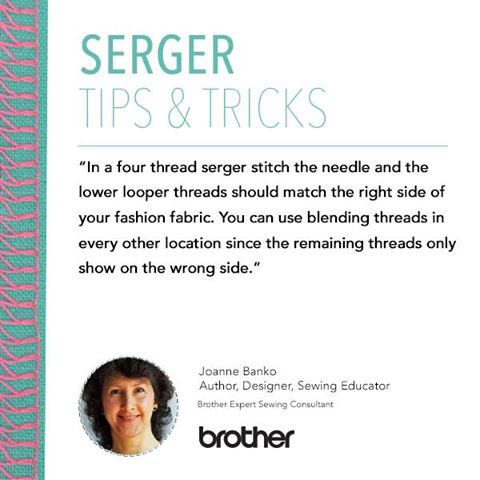 In a four thread serger stitch the needle and the lower looper threads should match the right side of your fashion fabric. You can use blending threads in every other location since the remaining threads only show on the wrong side.