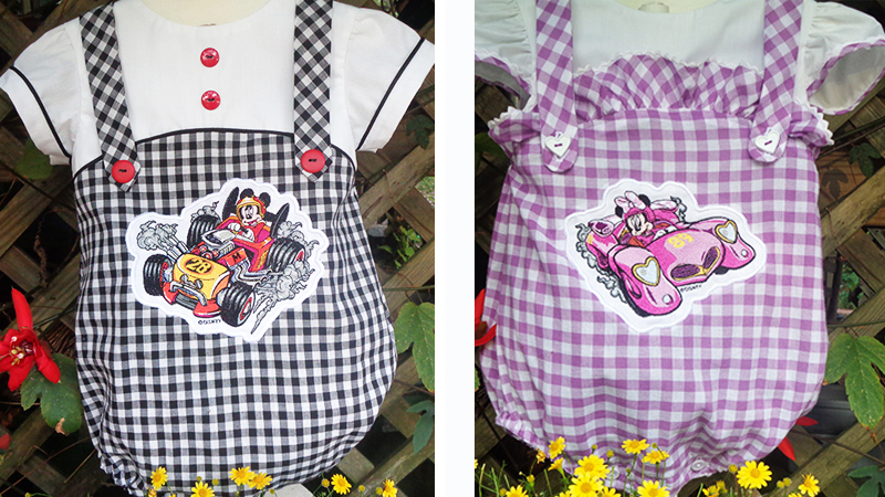 His and Hers Appliqué Mickey & Minnie Roadsters