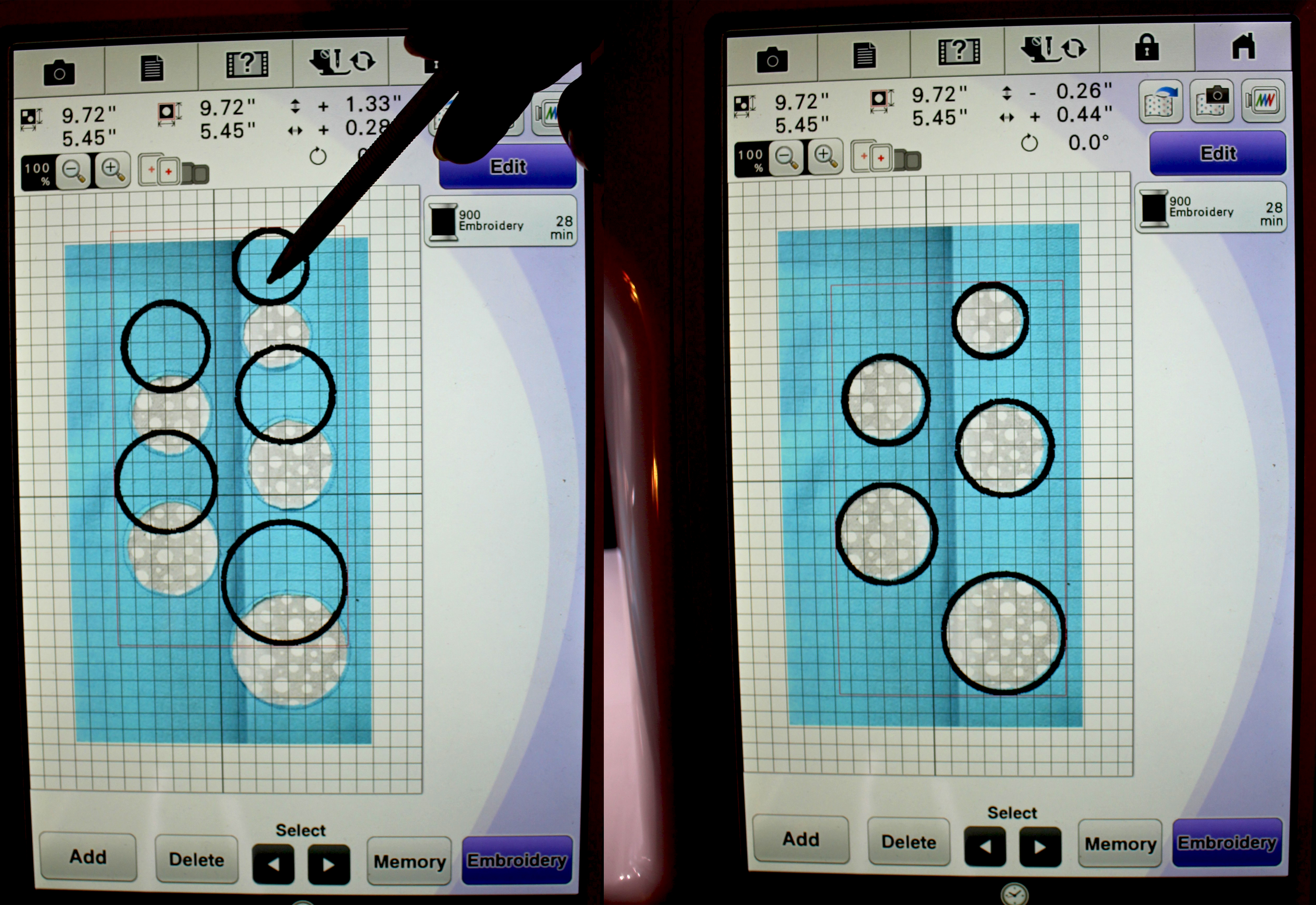 Move the design around to cover the previous circles.