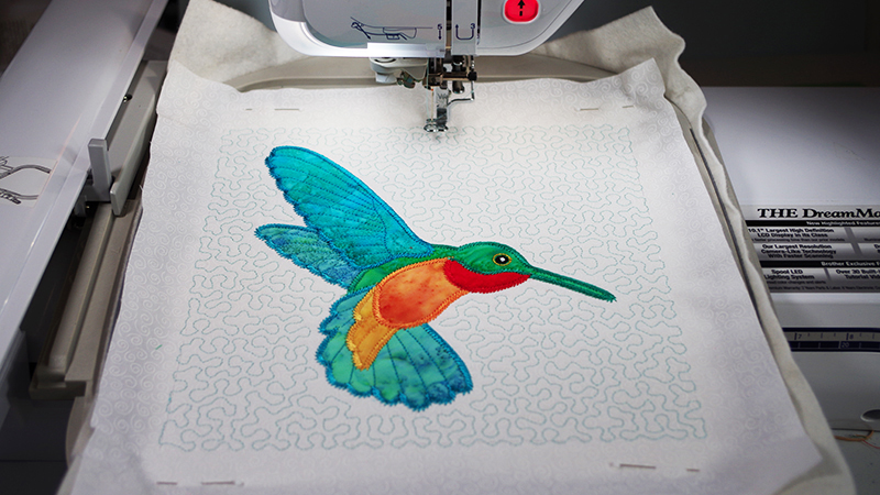 Add Stippling Applique Design to Create a Quilted Block