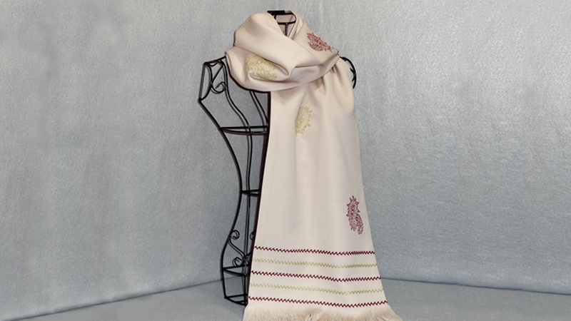 Embroidered Scarf with Bobbin Work Accents