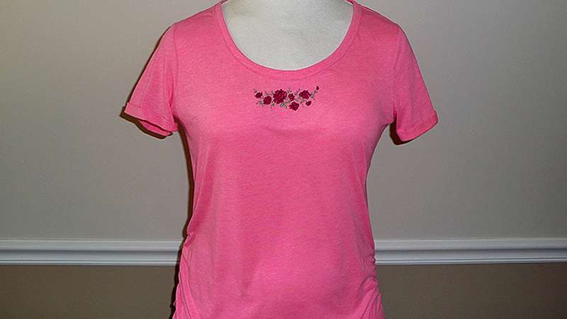 Embroidered T-Shirt with Roses & Ruching