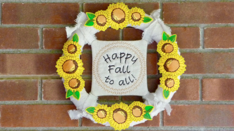 Free Design: Fall Wreath with Embroidered Sunflowers