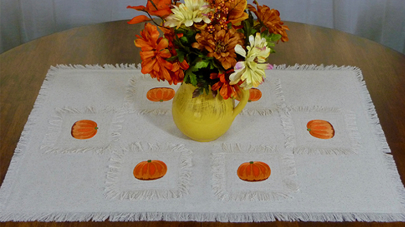 Foot of the Month: Embroidered Pumpkin Table Runner