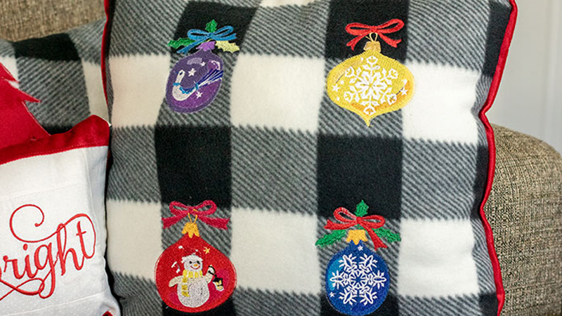 Embroidered Holiday Pillows