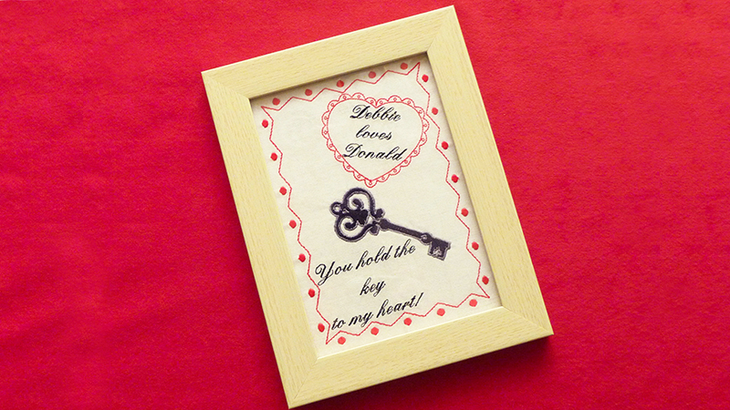 Free Design: Key to My Heart Embroidery Art Project