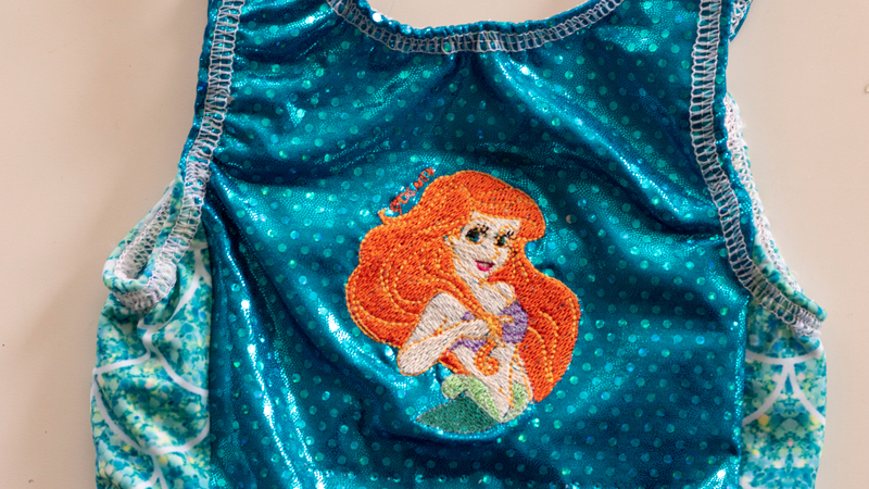 Mermaid Embroidery on Swim Fabric