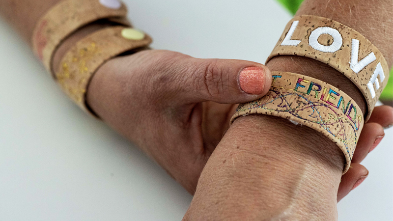 Stylish Embroidered Cork Cuffs
