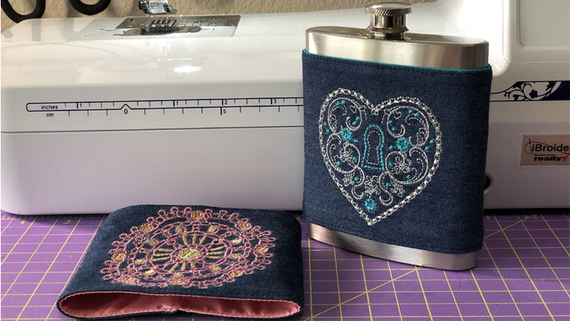 Snazzy Embroidered Hip Flask Cover