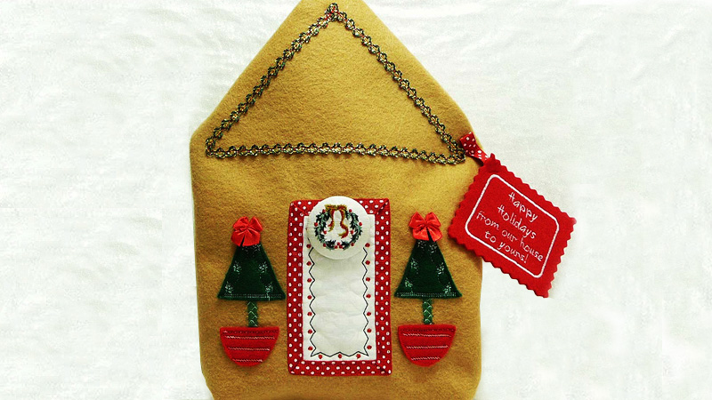 From Our House to Yours! Appliqué Holiday Gift Bag