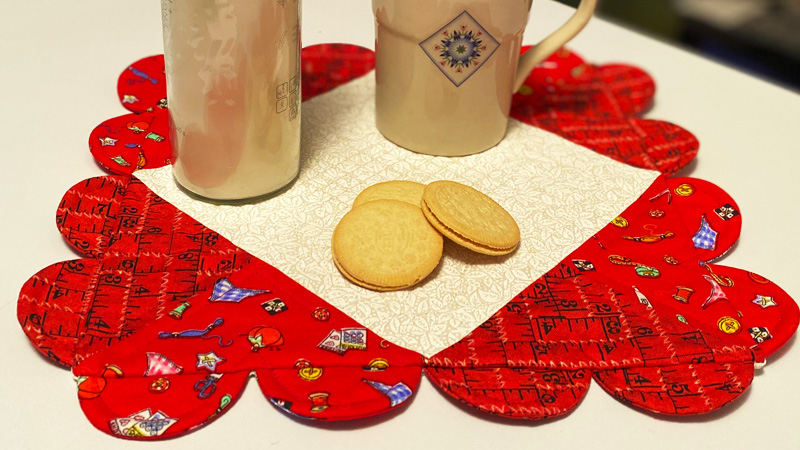 A Tea-Time Heart Happy Mat