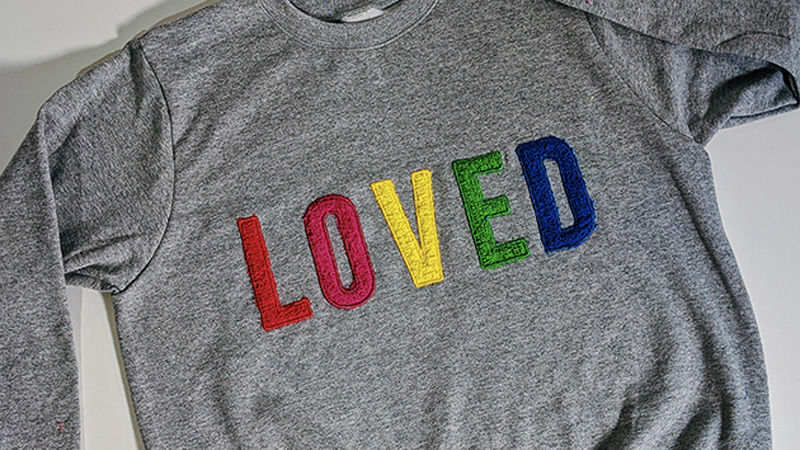 Using Fun Colors to Create a Stylish LOVED Sweatshirt