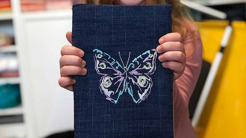 Groovy Embroidered Notebook Cover