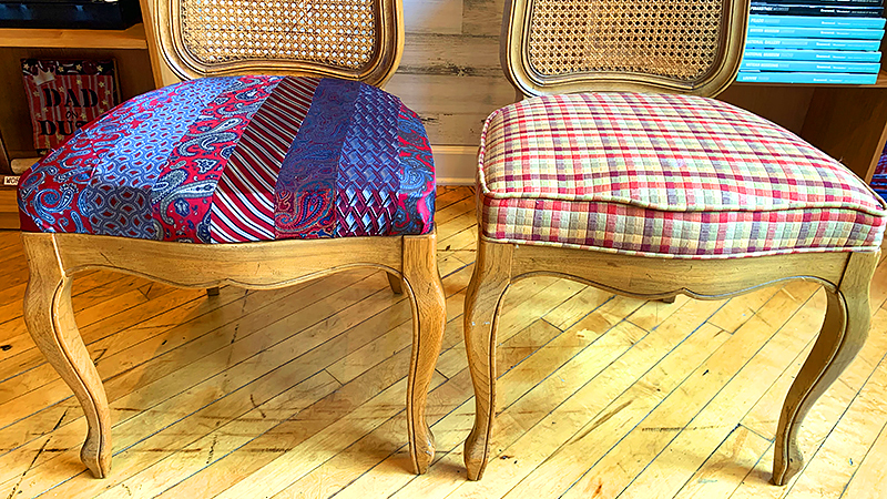 Repurposed Necktie Chair Cover