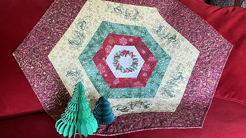 Holiday Quilted Hexagons: Table Mat, Wall Hanging, and More