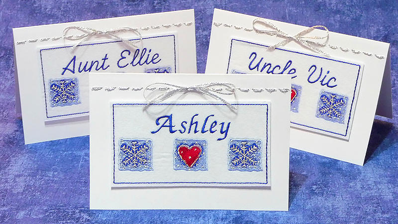 Free Design: Embroidered Holiday Place Cards
